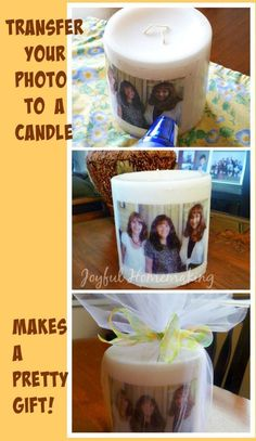 Photo transfer candle makes a pretty and personal gift idea
