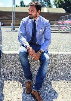 青ジャケット×ジーンズ