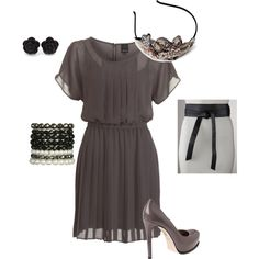 A fashion look from December 2011 featuring short sleeve dress, grey patent leather pumps and bead bracelet. Browse and shop related looks.