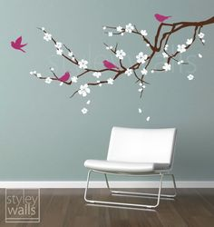 Cherry Blossom Branch Wall Decal Blossoming Almond Branch with Birds GIFT BIRDS Flower decal Children Nursery Kids Vinyl Wall Decal sticker. $59.00, via Etsy.