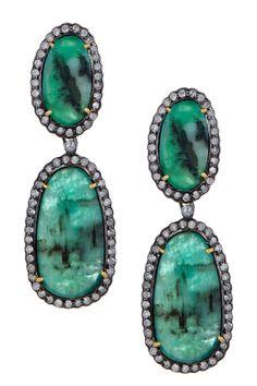 Diamond Halo Emerald Double Oval Drop Earrings - 1.98 ctw