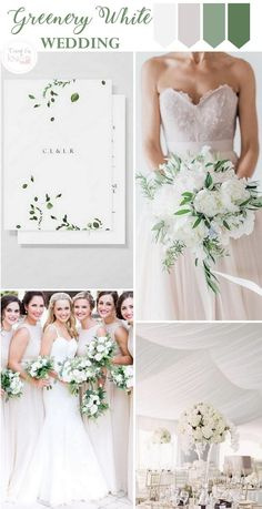 greenery white wedding - Wedding colors - wedding color palettes - wedding color ideas - Greenery wedding ideas - Green and White wedding Wedding Motif Color, Wedding Motifs, Wedding Color Schemes, Wedding Colors, Wedding Themes, Budget Wedding Flowers, Wedding Ceremony Decorations, Bridal Shower Decorations, Wedding Centerpieces