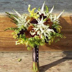 Chocolate Cosmos, Yellow Gloriosa Lilies, Astilbe, Chocolate Cymbidiums, alchemilla, montbretia pods