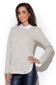 Women's lightweight sweater with decorative collar