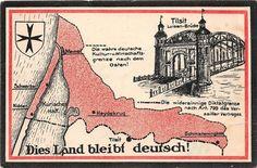 Grenze nach Osten Tilsit Memel Kurisches Haff. gelaufen 1925