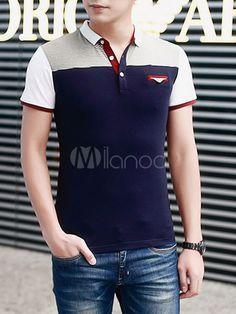 Camisa Polo elegante camisa los hombres con falso bolsillo 4829470ee8d07