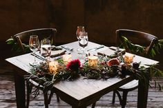 wedding sweetheart table decor with garland, burgundy peonies, candles and more on farm table by Foraged Floral Plum Flowers, Wedding Flowers, Sweetheart Table Decor, Wedding Consultant, Wedding Decorations, Table Decorations, Wedding Videos, Green Wedding Shoes, Chicago Wedding