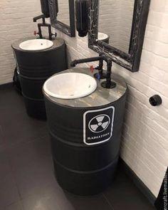 Buy Barrel black with Loft sink – black, … - Famous Last Words Design Bar Restaurant, Deco Restaurant, Gym Design, Cafe Design, Design Ideas, Garage Design, Loft Cafe, Container Cafe, Barber Shop Decor