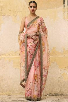 Featuring a pale pink hand painted organza saree from Sabyasachi Art Foundation with silk quilted blouse. Fabric: Organza, Silk Care Instructions: Dryclean only. Sabyasachi Sarees Price, Lehenga Choli, Sabyasachi Bride, Bridal Lehenga, Indian Fashion Dresses, Indian Designer Outfits, Fancy Sarees, Party Wear Sarees, Designer Sarees Online Shopping