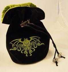 Black Velvet Dice Bag with Cthulhu by DiceBagsByJibbi on Etsy