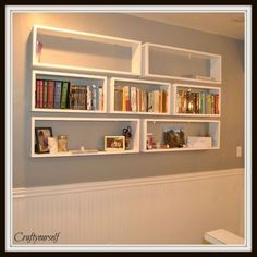 5 Surprising Tips: Floating Shelves Diy Kids white floating shelves house tours.How To Hang Floating Shelves Diy grey floating shelves bedroom. Floating Bookshelves, Floating Shelves Bathroom, Rustic Floating Shelves, Wall Bookshelves, Bookshelf Design, Bookcase, Bedroom Bookshelf, Creative Bookshelves, Unique Shelves