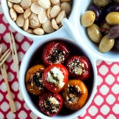 Goat cheese stuffed peppadew peppers - A perfect balance of sweet and spicy.