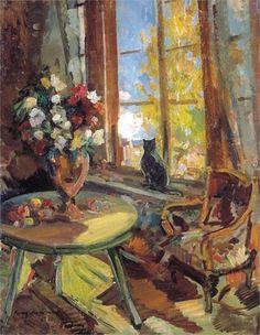 Konstantin Korovin (Russian 1861–1939) [Impressionism, Art Nouveau] Black cat on a windowsill, 1902.