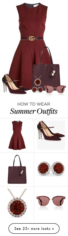 """""""Summer Outfit 14"""" by larycao on Polyvore featuring Victoria Beckham, Jennifer Chamandi, Carven, Allurez, Oliver Peoples and Gucci"""