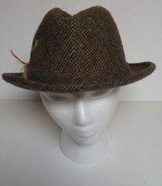 "Adam New York Fedora Hat Vintage Brown Wool Mens Size Large L 8"" Feather VTG MCM…"