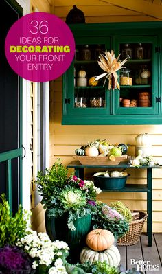 Look no further for autum inspiration for your front entry. From festive wreaths to glimmering pumpkins get all your fall decor ideas: http://www.bhg.com/halloween/outdoor-decorations/pretty-front-entry-decorating-ideas-for-fall/?socsrc=bhgpin101813falldecorating