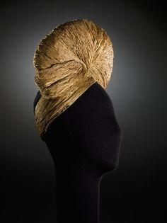 Jeanne Lanvin turban, sewn straw on organza, c.1942.