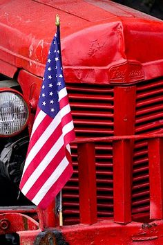 Digital photograph of an old red tractor with an American flag taped to its fender with duct tape created on location I Love America, God Bless America, America 2, Happy Birthday America, Red Tractor, Star Spangled Banner, American Flag, American Pride, American Spirit