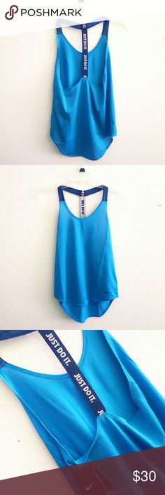 1 hr disccounted shippingNike tank Stay cool when it heats up with this fabulous workout tank. The DRI-FIT pulls away sweat room help keep you dry and comfortable. Hi-Low fit for a better body shape showing. Dark turquoise and deep blue strap, perfect summer colors. A MUST HAVE! Nike Tops Tank Tops