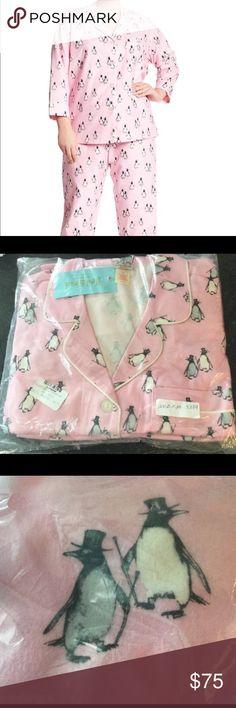 🆕 CUTE Bedhead 1X 16 18 Pink Flannel Pajamas Called - Penguins on parade.  Adorable! BedHead Intimates & Sleepwear Pajamas