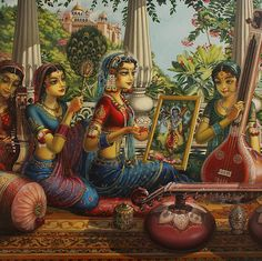Radharani sees Lord Krsna wherever She casts Her glance.