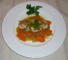 Steamed Chicken Breast with Carrots. Another good food combining diet dish that transferred nicely to my new gluten-free diet. Haven't tried it with the oranges yet.