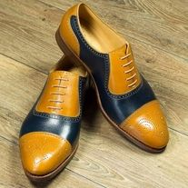 Handmade+Men's+Casual+Shoes,+Men's+Tan+Brown+Black+Leather+Cap+toe+Lace+Up+Shoes Description+ Condition+New+With+Box+ oxford+wing+tip+shoes Shoes+upper+material+Genuine+leather Handmade+Dress+Shoes+ S Suede Leather Shoes, Leather Cap, Yellow Leather, Soft Leather, Cowhide Leather, Real Leather, Formal Shoes, Casual Shoes, Dress Formal