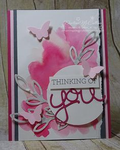 Crazy About You Watercolor Wash - www.dreamingaboutrubberstamps.com - This mixed media card uses the Crazy About You stamp set and Hello You Thinlits from Stampin' Up! as well as the Bitty Butterfly Punch with colors of Rose Red, Pink Pirouette and Basic Gray