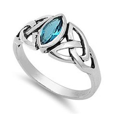 Sterling Silver Celtic Knot Design Blue Topaz Marquise Cut Ring Sz 5-10 104580123456