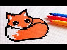 Handmade Pixel Art - How To Draw Kawaii Fox #pixelart - YouTube Graph Paper Drawings, Graph Paper Art, Cute Drawings, Square Drawing, Easy Pixel Art, My Little Pony Unicorn, Modele Pixel Art, Notebook Sketches, Pixel Drawing