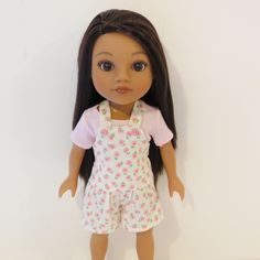 Hearts for Hearts Doll Clothes - Shortalls Romper and Pink Tee by TheTinyDressingRoom on Etsy https://www.etsy.com/listing/253356638/hearts-for-hearts-doll-clothes-shortalls