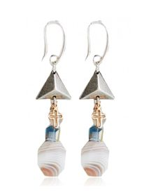 Agate of Botswana stones drop earrings. Beaded Earrings