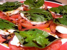 Balsamic, mozzarella, tomato, and basil stack salad