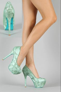 SWEET PALE GREEN LACE COVERED OVERLAY HIGH HEELS COURT SHOES BLUE STILETTO SOLE
