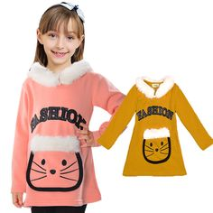 Baby Clothes Warm Thick Girls Hoodies Cute Cartoon Sweatshirt For Girls Artificial Fur Long Length Children Clothing Girls Top