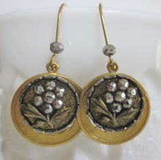 1800's Steel Cup Button Earrings.  Wallpaper Background Steel Cup Buttons with Faceted Steel Trim. Raw Brass Drops. OneWomanRepurposed B 939 by OneWomanRepurposed on Etsy