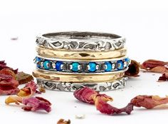 Silver and Gold Stack Ring