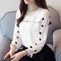 Long sleeve women blouse shirt fashion 2018 chiffon women's clothing sweet o-neck black dot white feminine tops blusas 30 - Blusas Spring Blouses, Spring Shirts, Fashion 2018, Fashion Outfits, Womens Fashion, Fashion Brands, Fashion Shorts, Moda Fashion, Fashion Sandals