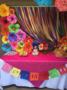 Fiesta theme girl baby shower dessert table baby shower decor in Mexican Theme Baby Shower, Baby Shower Deco, Fiesta Baby Shower, Baby Girl Shower Themes, Mexican Birthday Parties, Girl Birthday Themes, Baby Shower Table Centerpieces, Girls Party Decorations, Baby Shower Desserts