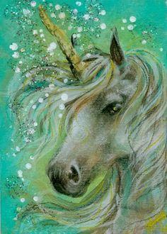 ACEO Print - Beautiful White Unicorn with Aqua Background - x in on Etsy Unicorn And Fairies, Unicorn Fantasy, Real Unicorn, The Last Unicorn, Unicorn Horse, Unicorns And Mermaids, Unicorn Art, Magical Unicorn, Fantasy Art