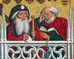 1466 German: detail of St. Peter with nietbrille by Friedrich Herlin of Nördlingen, altarpiece in St. Jacob's Church in Rothenburg ob der Tauber Renaissance, High Middle Ages, 11th Century, Viking Age, Medieval Art, Eye Art, Dark Ages, Cool Tools, Pilgrimage