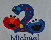 Custom Made to order Personalized Birthday Number with Elmo & Cookie Monster Shirt available in sizes 6 month to Adult XL. $25.00, via Etsy.