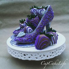 Chocolate & High Heels. Always the perfect pair. Purple, silver, with Chocolate Covered Strawberries