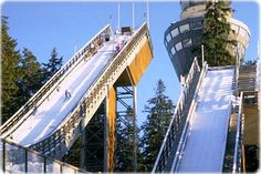 Ski jumps with observation tower, in Kuopio, Finland.