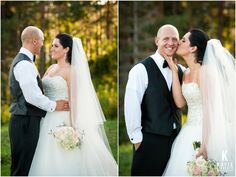 Adorable! Bride kisses groom on the cheek at their Bristol Harbor wedding photographed by Katie Finnerty Photography http://katiefinnertyphotography.com/