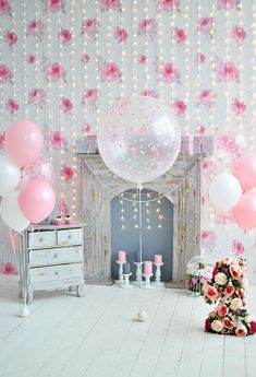 Pink Floral Newborn Backdrops Wood Floor Background for Fondos de bebes Pink Floral Newborn Back Cake Smash Backdrop, Pink Backdrop, Balloon Backdrop, Backdrop Lights, Backdrop Ideas, Balloon Garland, Birthday Party Background, Birthday Backdrop, Birthday Balloons