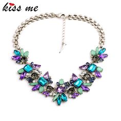 Luxury Created Crystal Flower Pendants Statement Necklace Fashion Jewelry Women Accessories