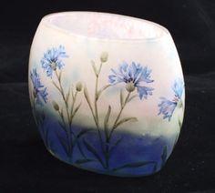 Daum  pillow vase with cornflowers