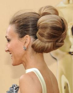 elaborate bun - I hate how fuzzy her hair is in the front though