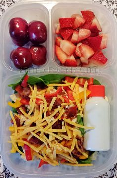 chicken spinach salad (minimal dressing in a separate container), grapes or cherries, strawberries